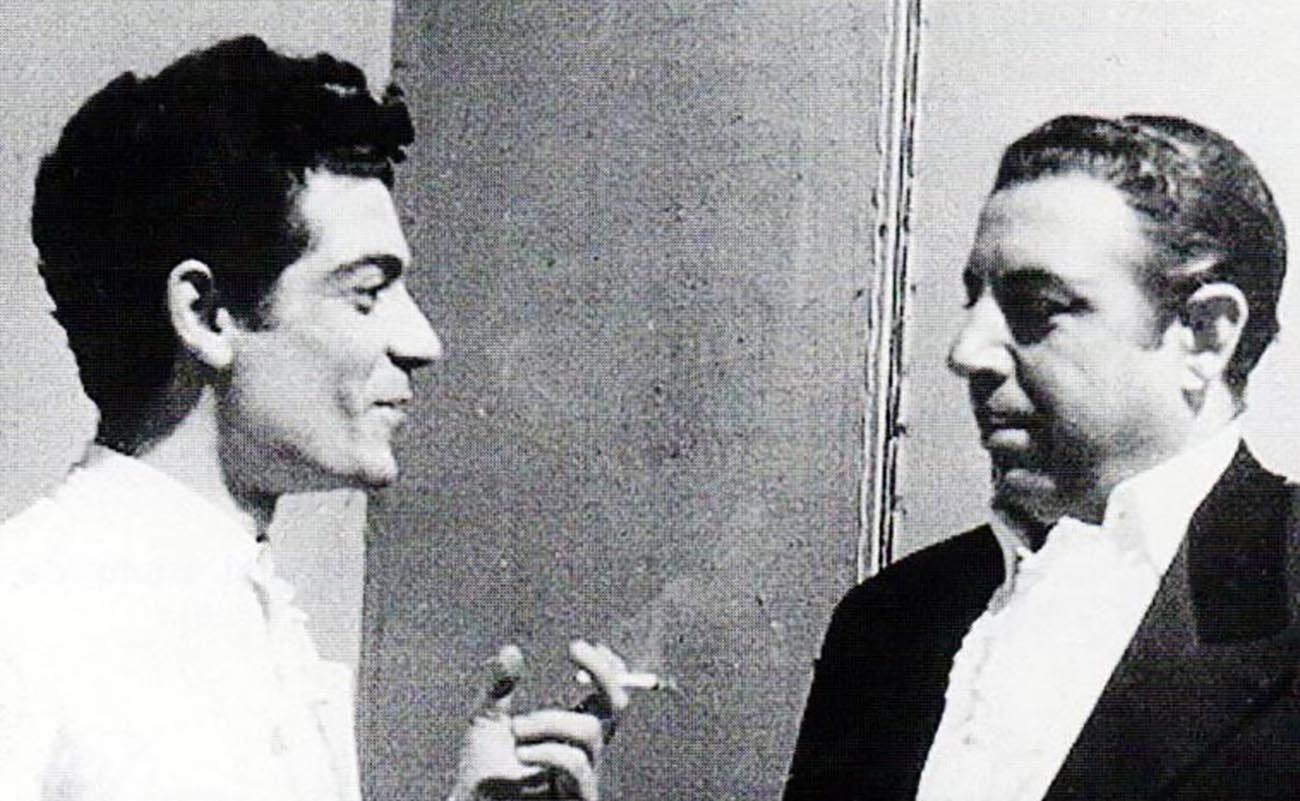 Pepe Segundo y Antonio Mairena. Foto: 'Duende y poesía en el cante de Antonio Mairena', de José Antonio Cenizo Jiménez.