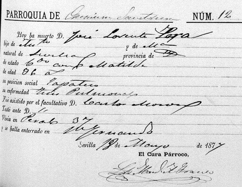 Partida de nacimiento de José Lorente. Foto: Manuel Bohórquez