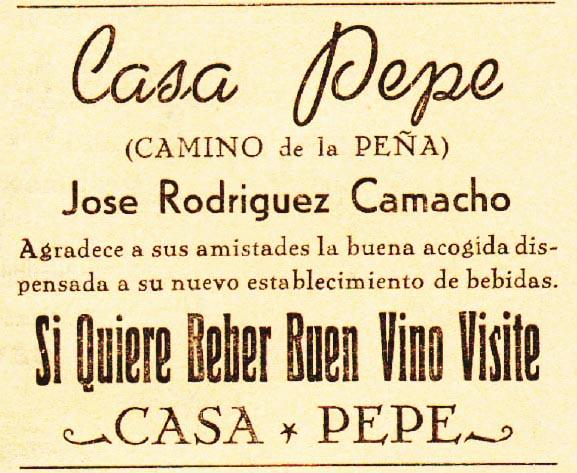 Anuncio de Casa Pepe en 1956. Recorte de Jacobo Vega.