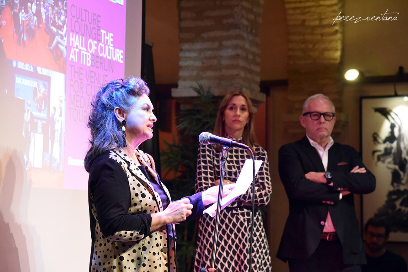 Palabras de Rosana de Aza. Presentación de la alianza «Authentic Flamenco Quality Establishments» en el Museo del Baile Flamenco. 8 octubre 2019. Foto: perezventana