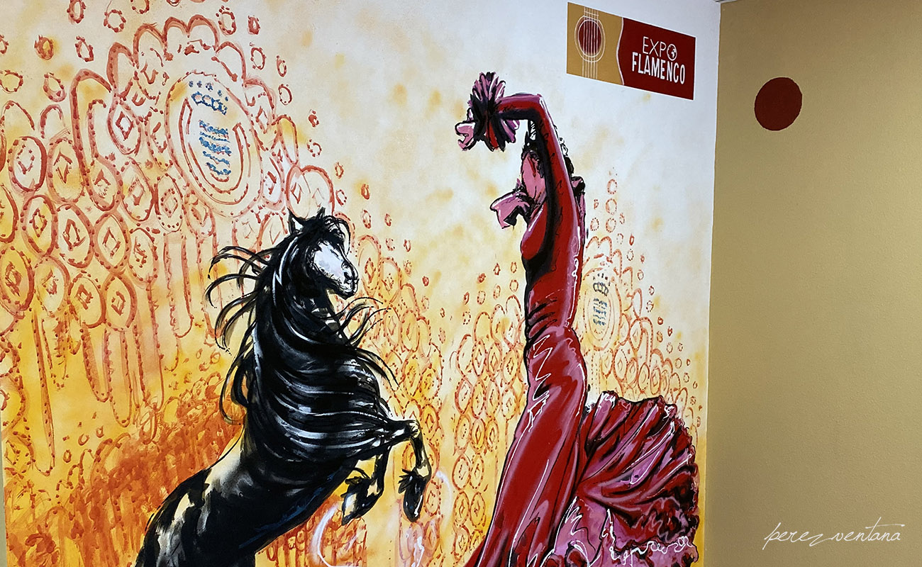A flamenco mural by the local artists Benjamín Gallego is the centerpiece of the ExpoFlamenco Jerez shop.