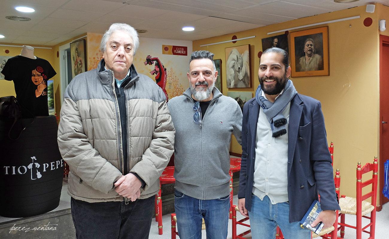 Manuel Bohórquez, Javier Patino y Juan Garrido. Mesa Redonda 'Festival de Jerez: un cuarto de siglo' ExpoFlamenco Jerez Shop, 19 feb 2020. Foto: perezventana
