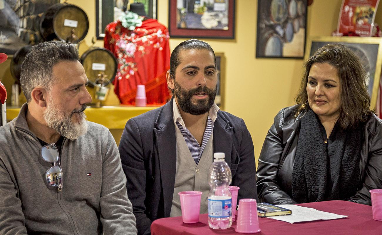 Javier Patino, Juan Garrido y María del Mar Moreno. Mesa Redonda 'Festival de Jerez: un cuarto de siglo' ExpoFlamenco Jerez Shop, 19 feb 2020. Foto: Guido Bartolotta