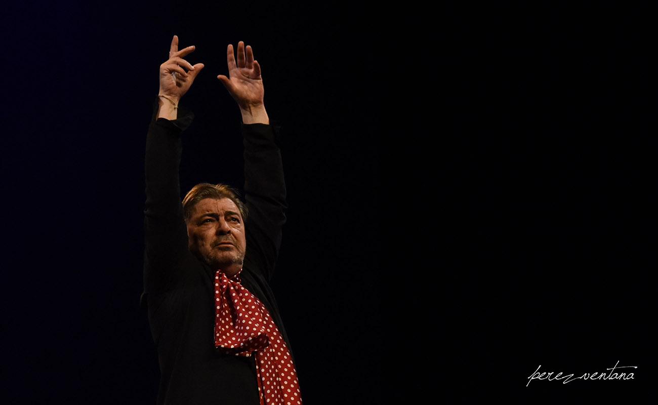 El bailaor Antonio Canales, en el homenaje a Carmelilla Montoya. Fibes, Sevilla. Diciembre 2019. Foto: perezventana