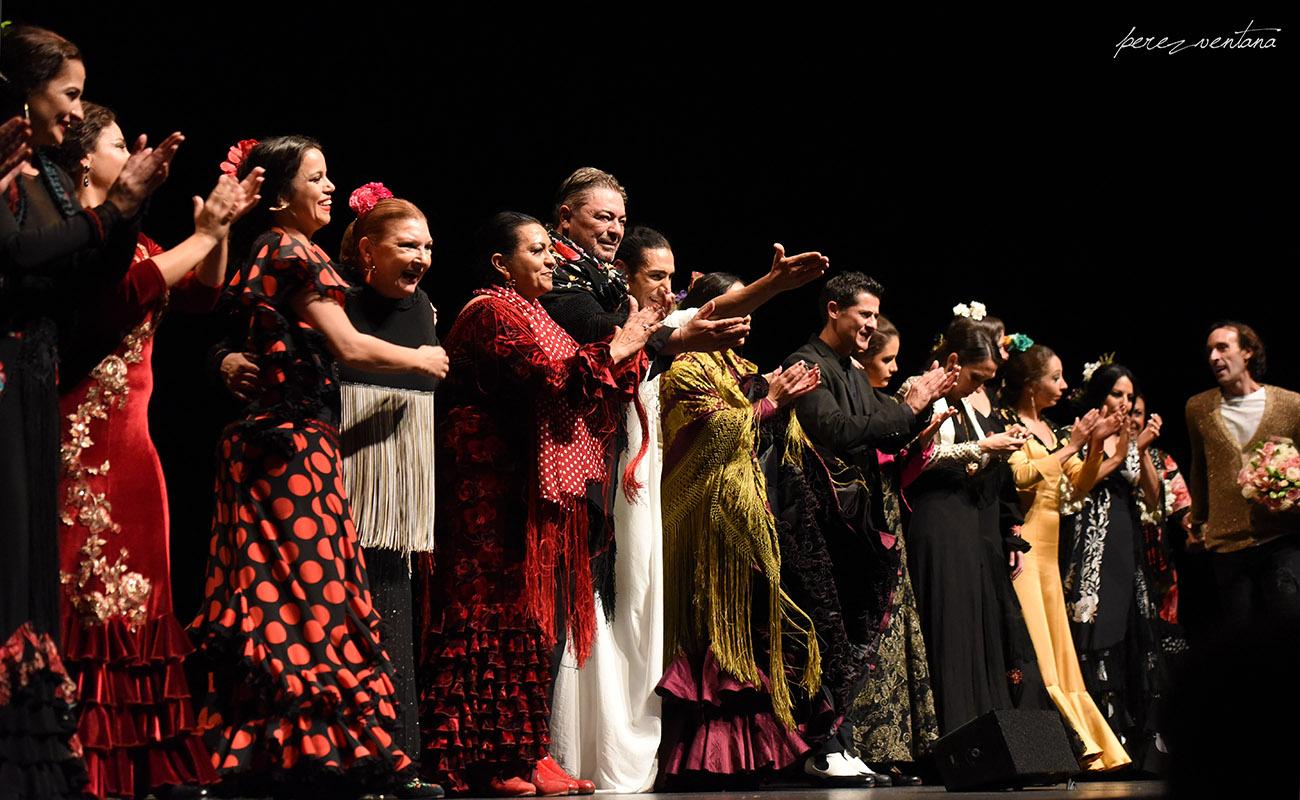 Artistas flamencos en el homenaje a Carmelilla Montoya. Fibes, dic 2019. Foto: perezventana