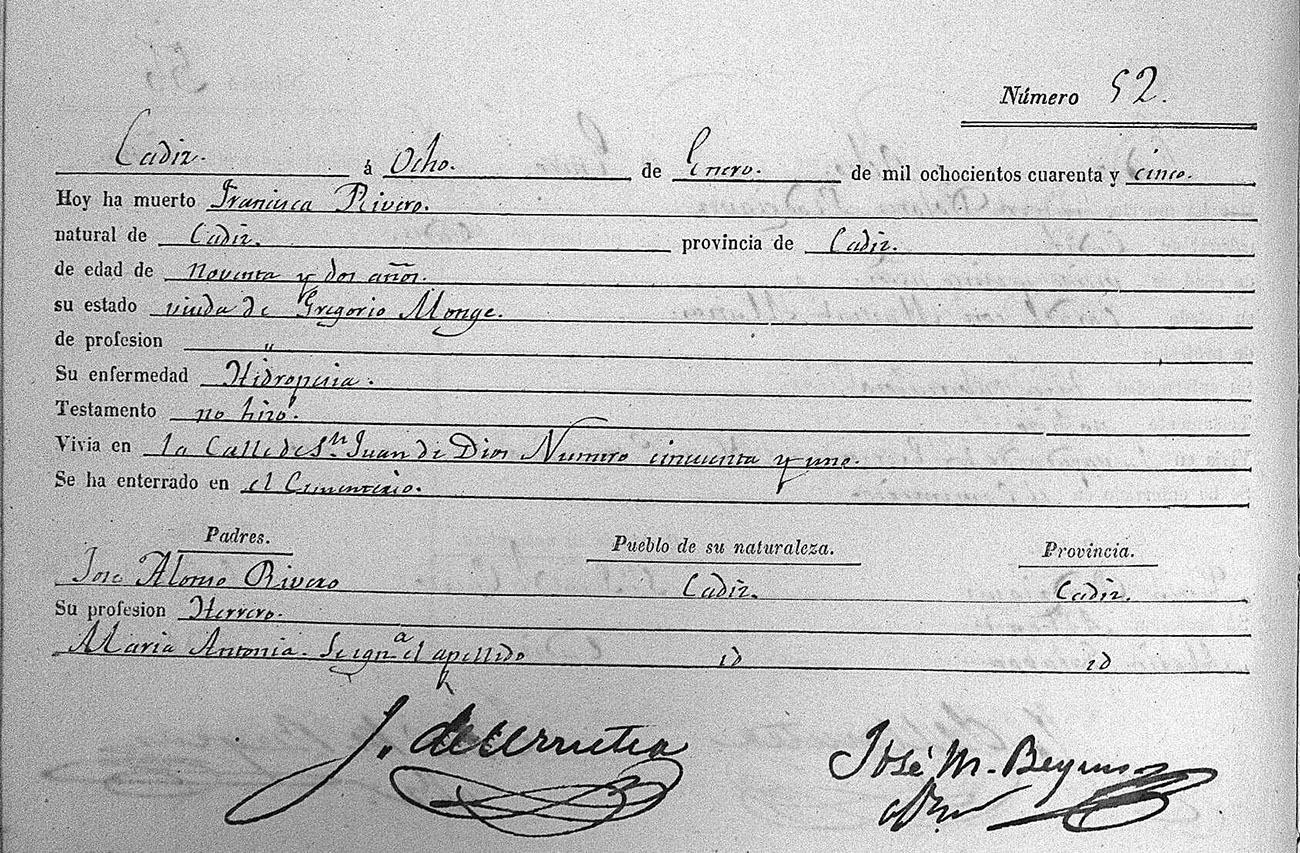 Partida de defunción de Francisca Rivero, madre de El Planeta, fallecida en 1845 con 92 años, un caso insólito en la época. Imagen: Archivo Manuel Bohórquez