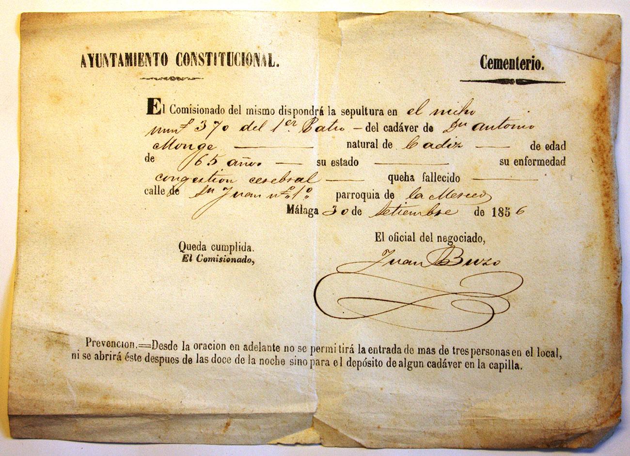 Certificado de enterramiento de Antonio Monge El Planeta. Imagen: Archivo Manuel Bohórquez