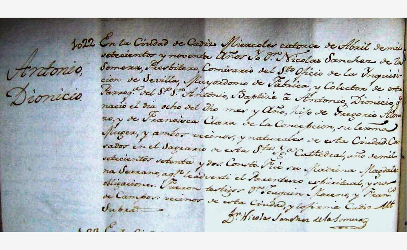 Partida de nacimiento de Antonio Monge Rivero El Planeta. Documentación de Manuel Bohórquez.
