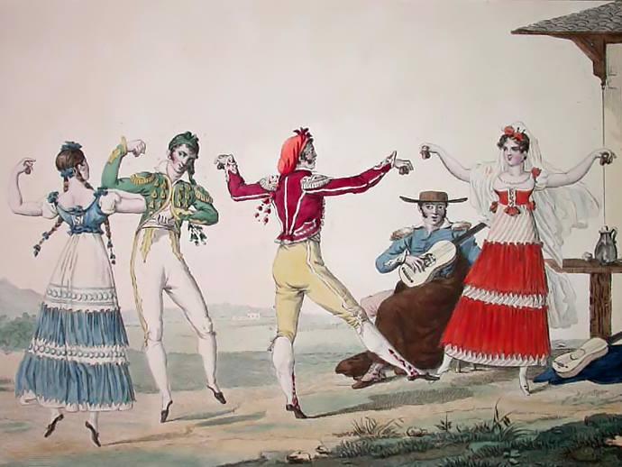 Antiguo grabado de los bailes de puntillas de la escuela bolera en Triana.