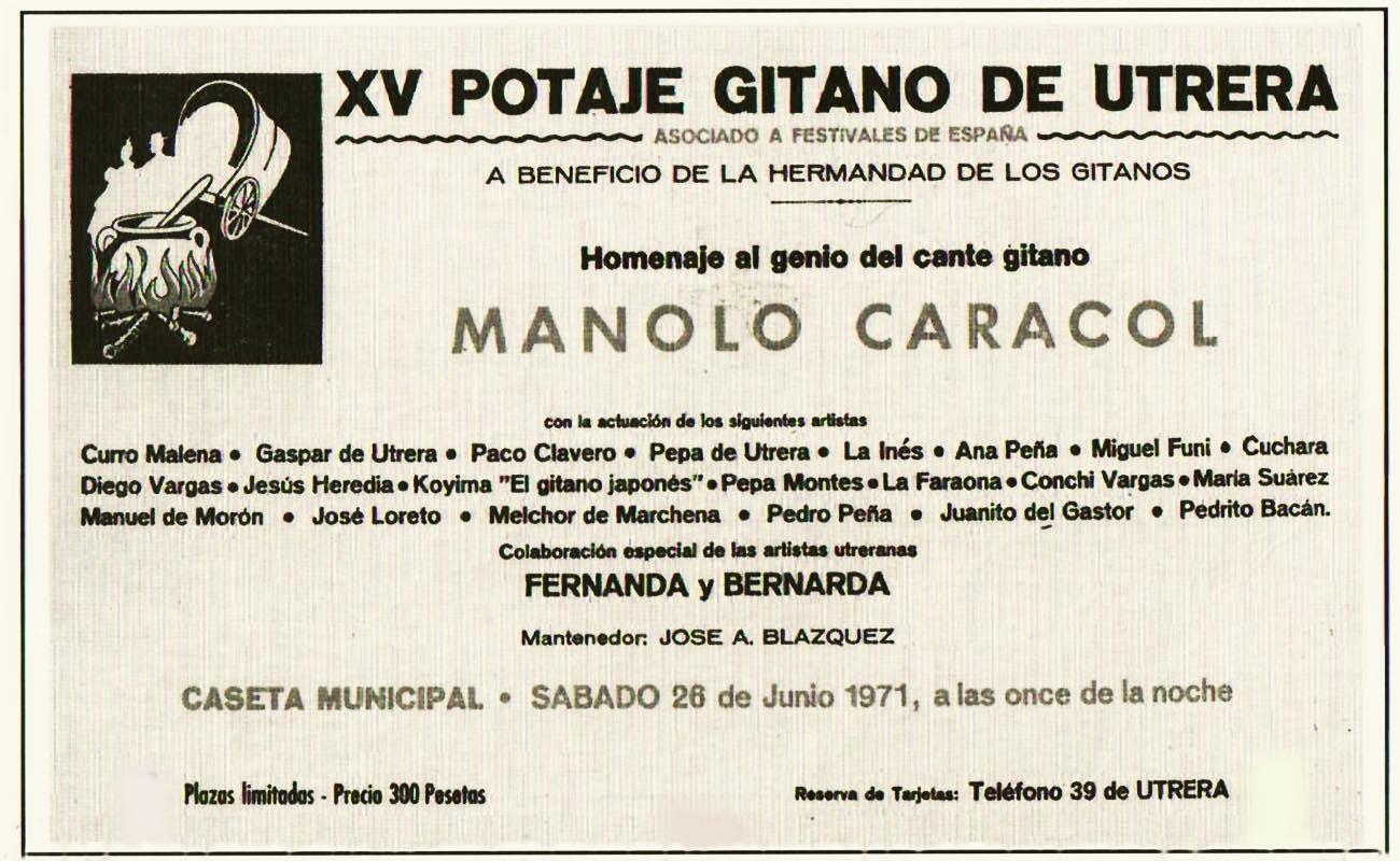 Cartel del Potaje Gitano de Utrera 1971.