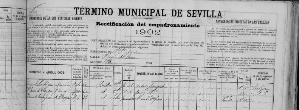 Padrón de Manuel Cagancho. Triana, 1902. Archivo Manuel Bohórquez.