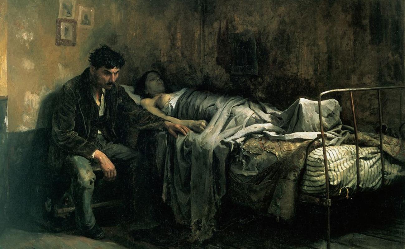 'La Miseria', de Cristóbal Rojas (1886). El autor, aquejado de tuberculosis, refleja el aspecto social de la enfermedad.