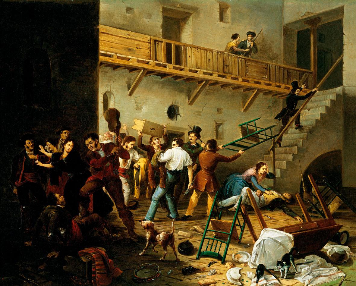«La reyerta», del pintor hispalense Manuel Cabral Aguado Bejarano, 1850. Colección Carmen Thyssen-Bornemisza.