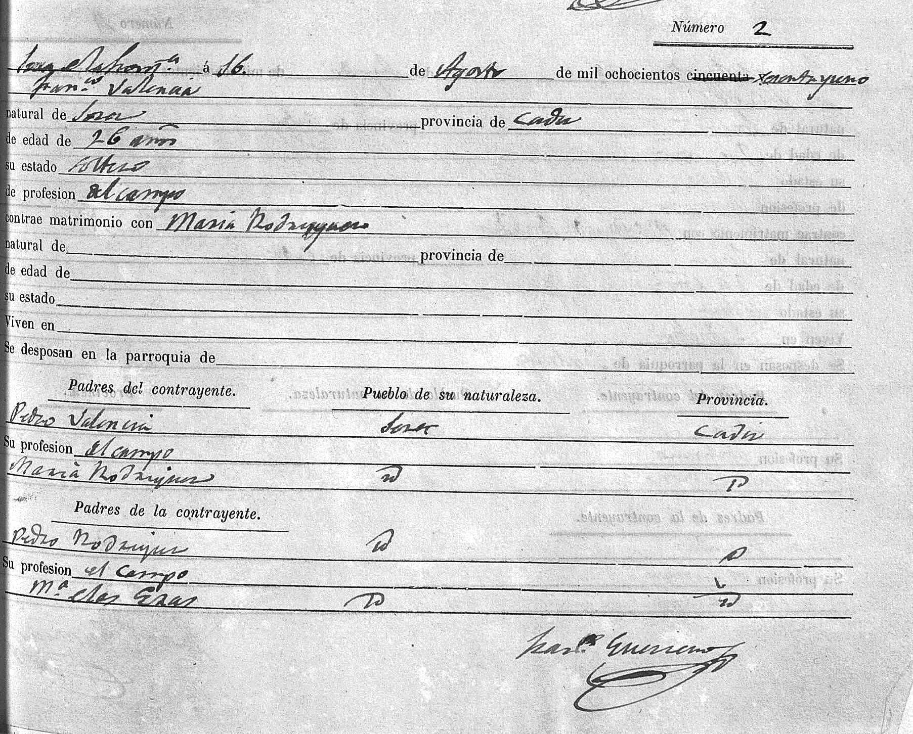 Certificado nupcial de los padres de María Valencia La Serrana: Francisco Valencia Soto (Paco La Luz) y María Rodríguez Eras. 1861. Archivo Manuel Bohórquez.