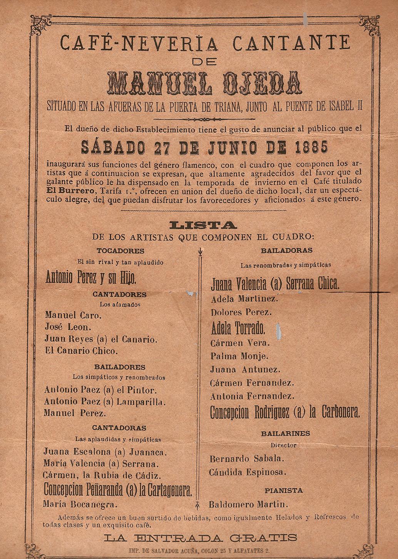 Cartel del Café-Cantante de Manuel Ojeda, 1885, con las actuaciones del Canario de Álora, María Valencia La Serrana y Juana Valencia Serrana Chica, entre otros.