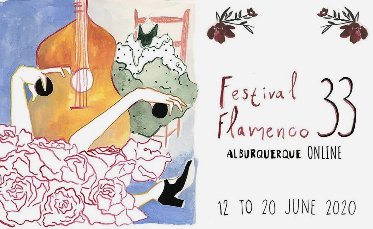 Cartel del 33º Festival Flamenco Alburquerque Online. 12 a 20 de junio de 2020.