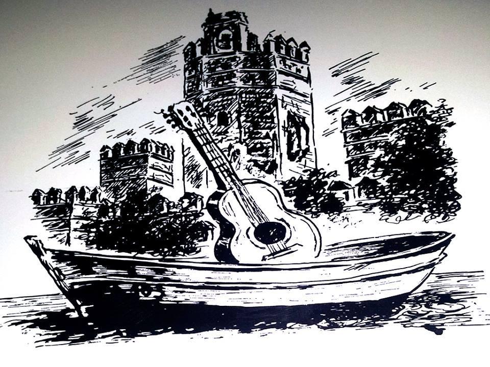 Antiguo dibujo de la Torre del Oro y una guitarra flamenca.