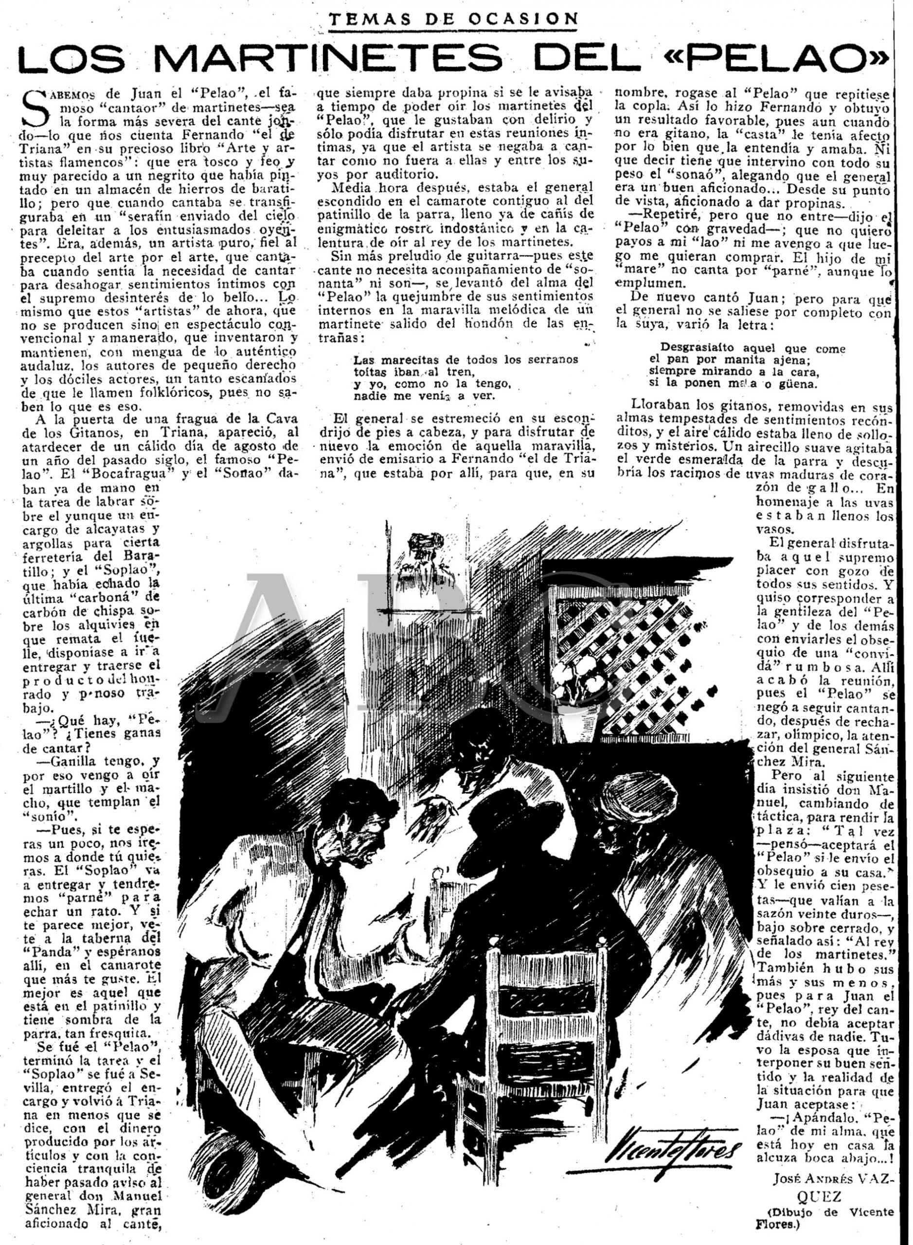Artículo en ABC de Sevilla: «Los martinetes del Pelao», por José Andrés Vázquez. 9 oct 1946. Dibujo Vicente Flores.