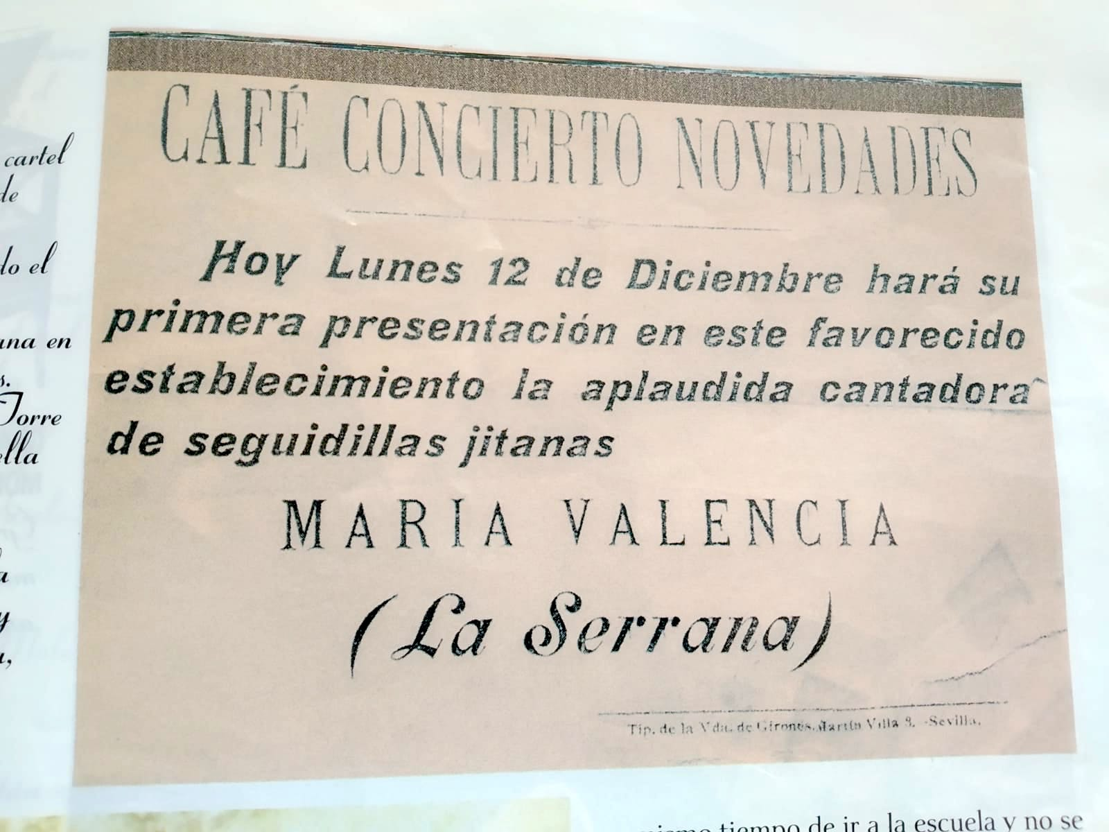 Cartel de la actuación de María Valencia La Serrana en el Café Novedades, 1900.