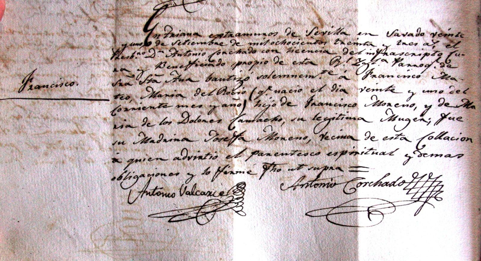 Partida de nacimiento de Francisco La Perla, 1833. Archivo Manuel Bohórquez.