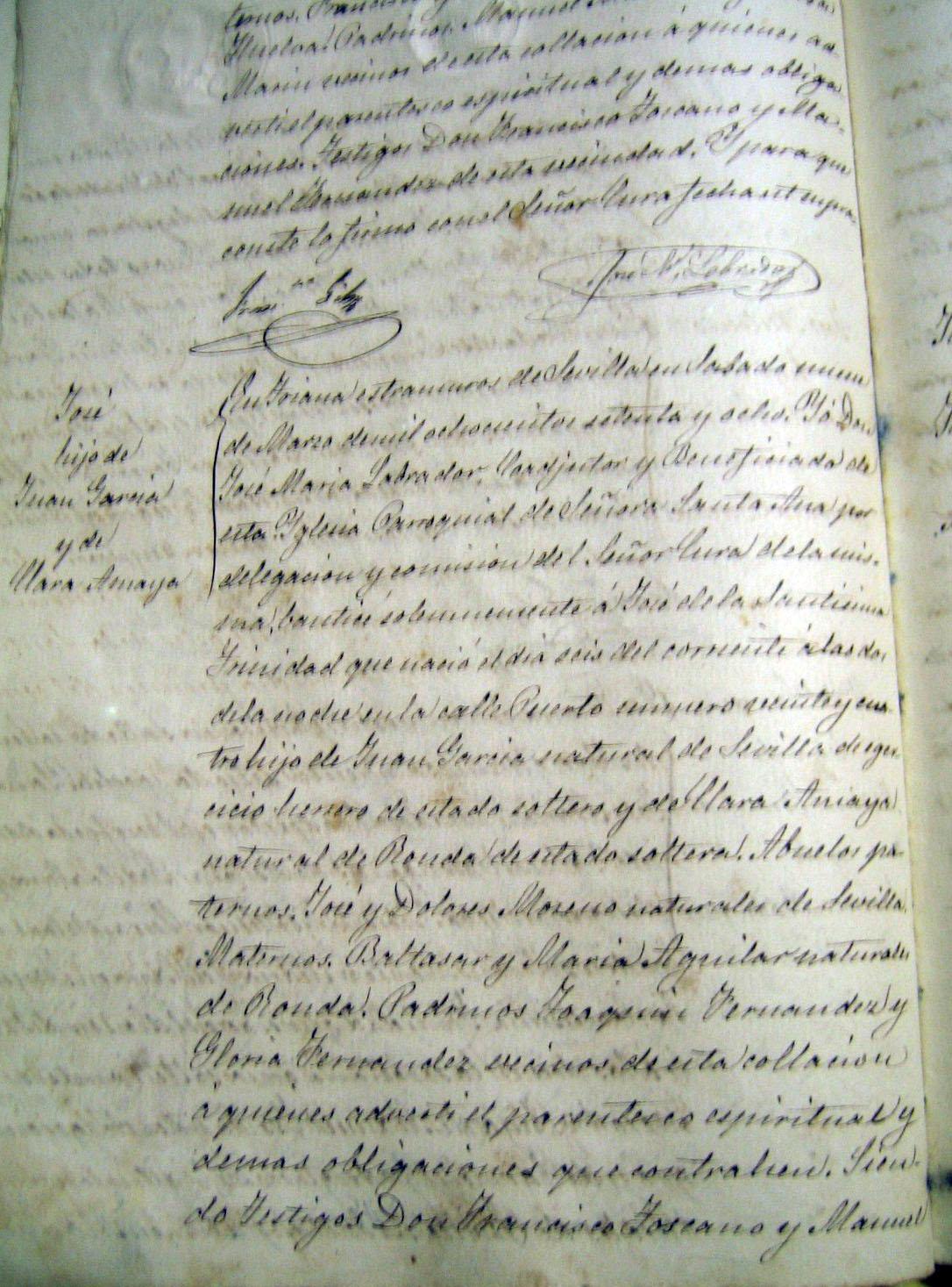 Nacimiento hijo de Juan el Pelao. Archivo Manuel Bohórquez.