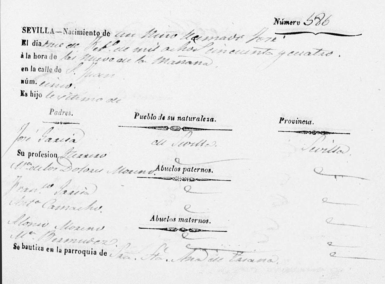 Nacimiento de José el Pelao, 1854. Archivo Manuel Bohórquez.