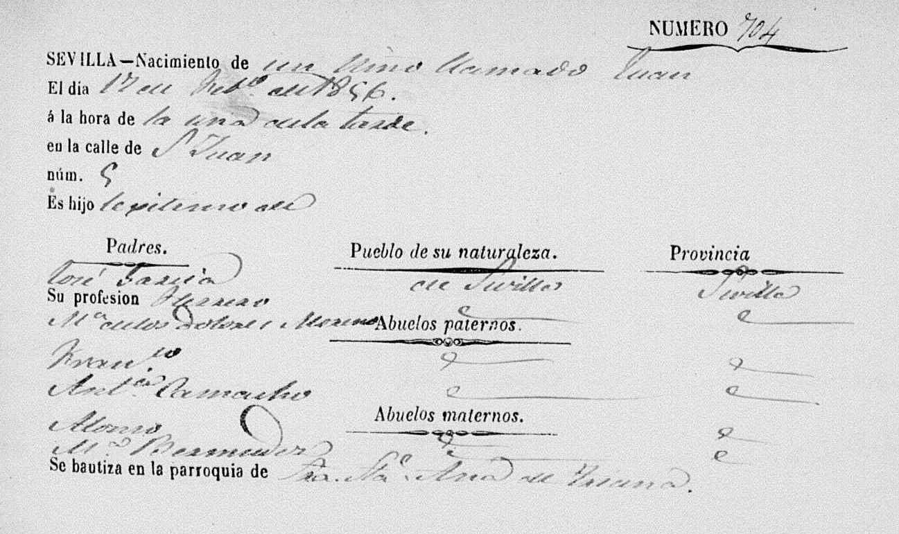 Certificado de nacimiento de Juan el Pelao, 1856. Archivo Manuel Bohorquez.