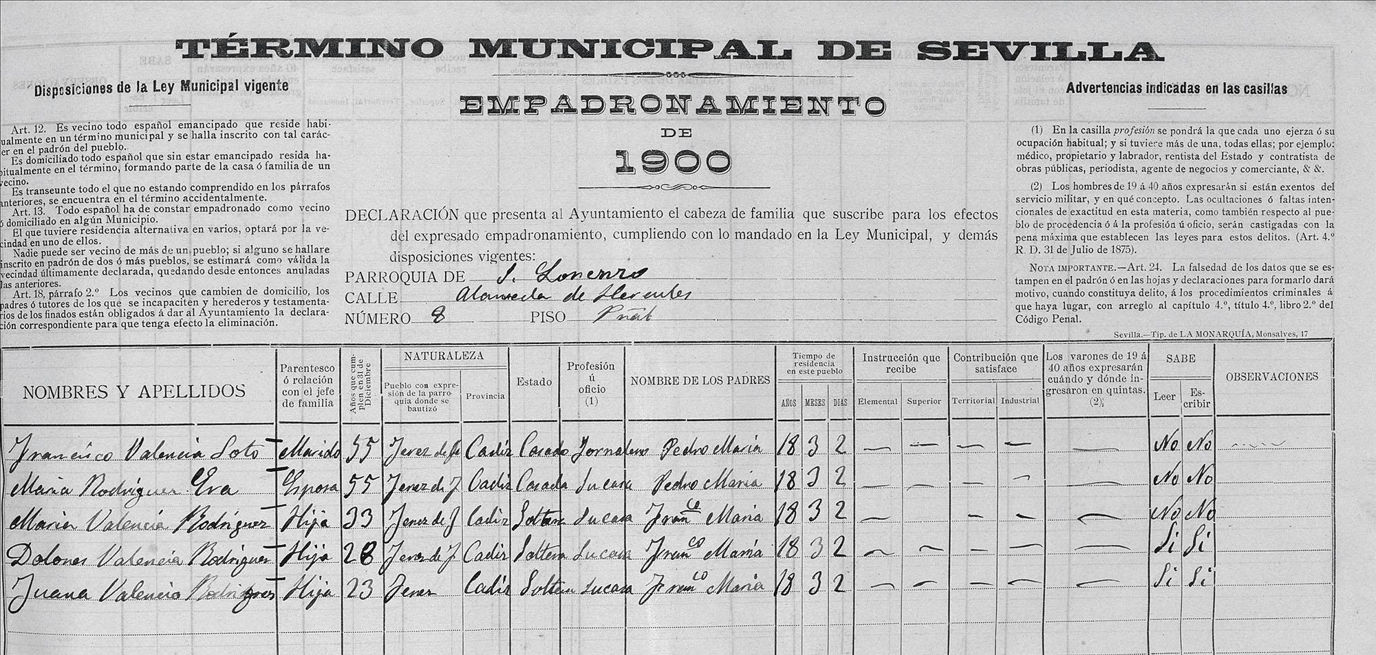 Certificado de empadronamiento de Paco La Luz y familia, 1900. Archivo Manuel Bohórquez.