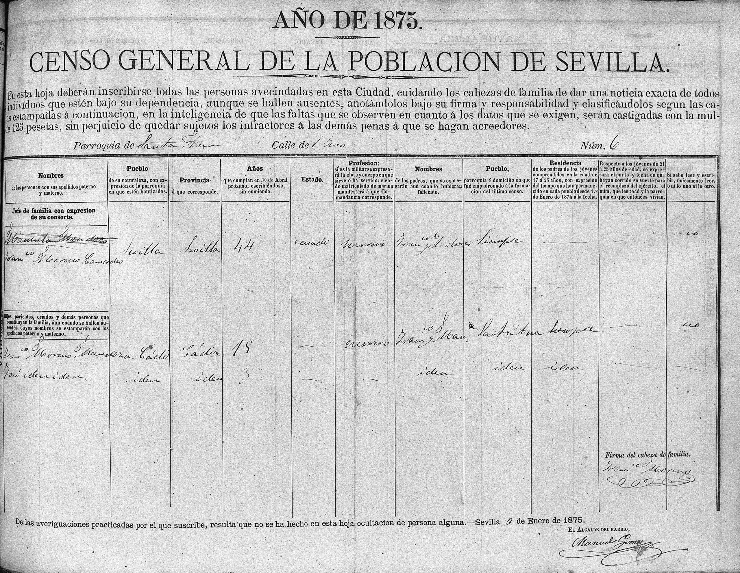 Padrón de Francisco La Perla. Sevilla, 1875. Archivo Manuel Bohórquez.