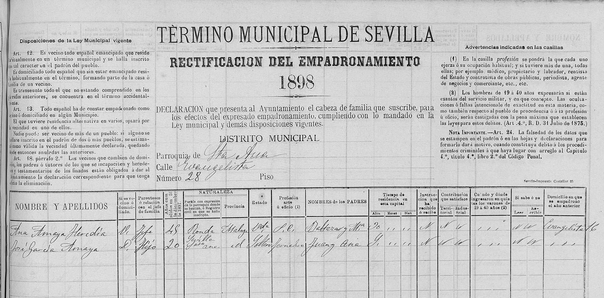 Padrón hijo de Juan el Pelao, 1898. Archivo Manuel Bohórquez.