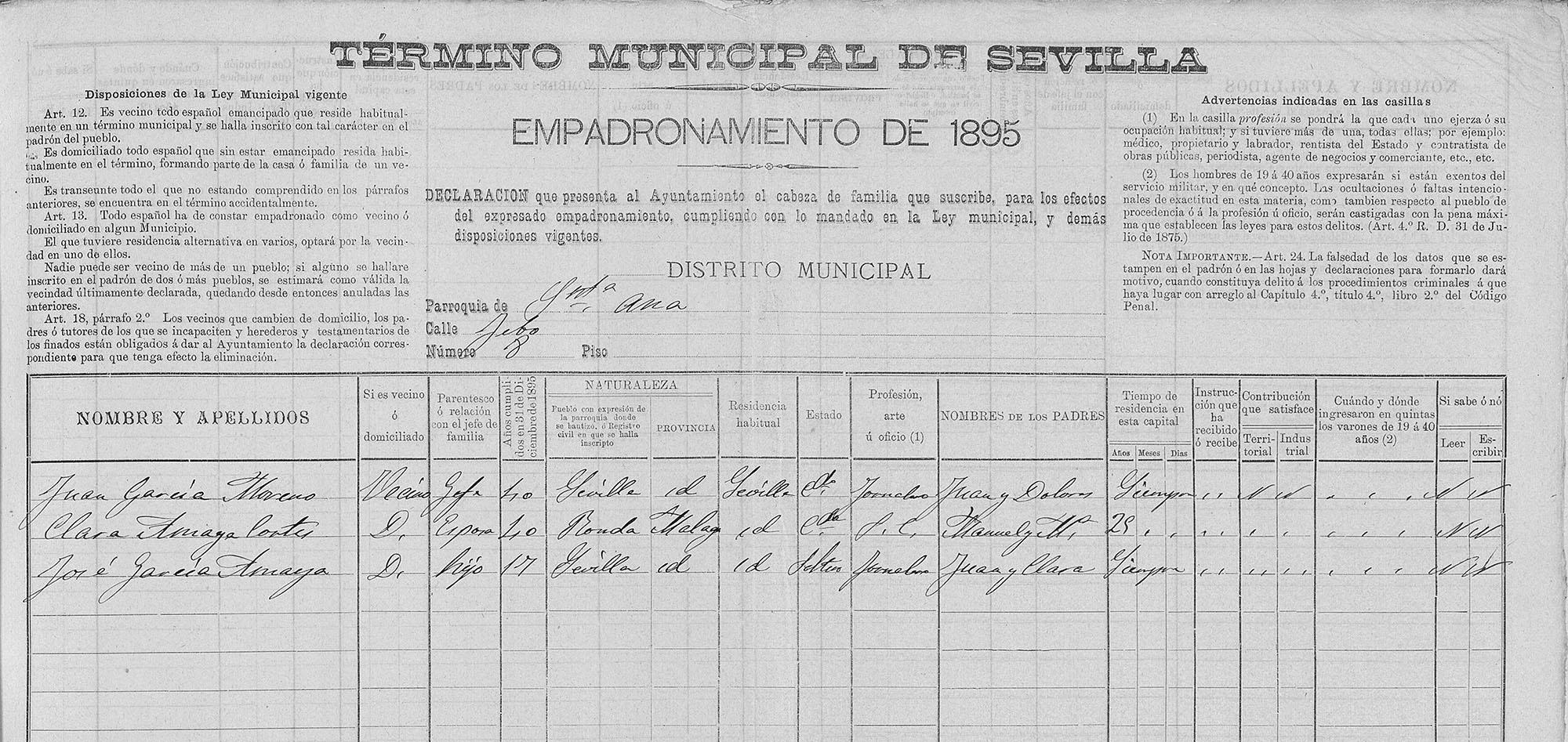 Certificado de empadronamiento de Juan el Pelao en Sevilla, 1895. Archivo Manuel Bohórquez.