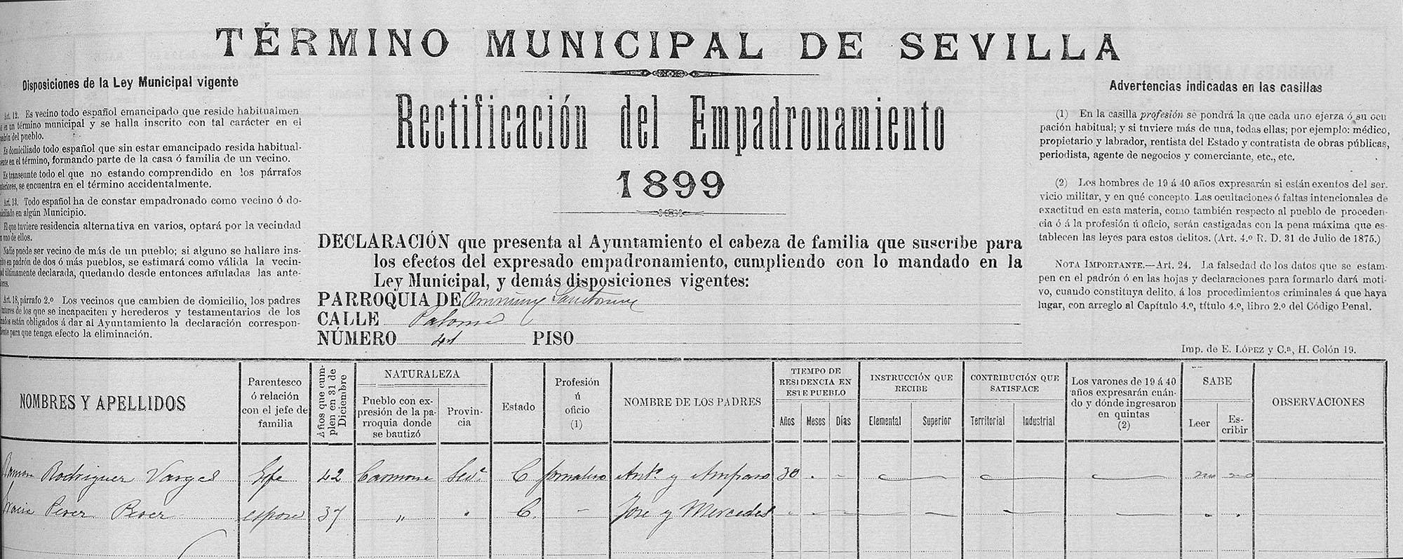 Certificado de empadronamiento de Ramón Rodríguez Vargas - Ramón el Ollero, Sevilla 1899. Archivo Manuel Bohórquez.