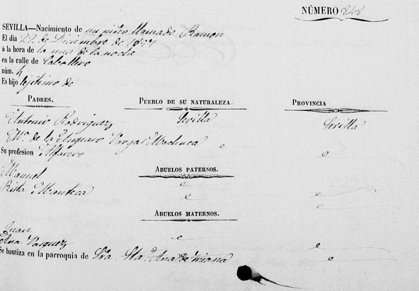 Partida de nacimiento de Ramón el Ollero. 22 diciembre 1857. Archivo Manuel Bohórquez.