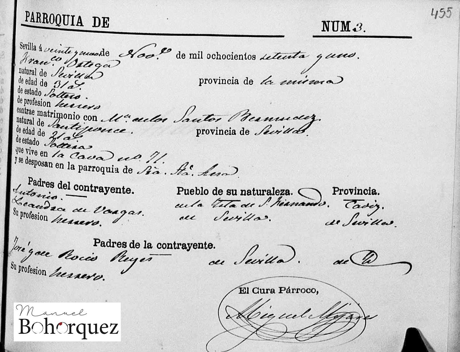 Boda de Francisco Ortega Vargas, hijo de El Fillo, con María de los Santos Reyes Bermúdez, 1871. Archivo Manuel Bohórquez.