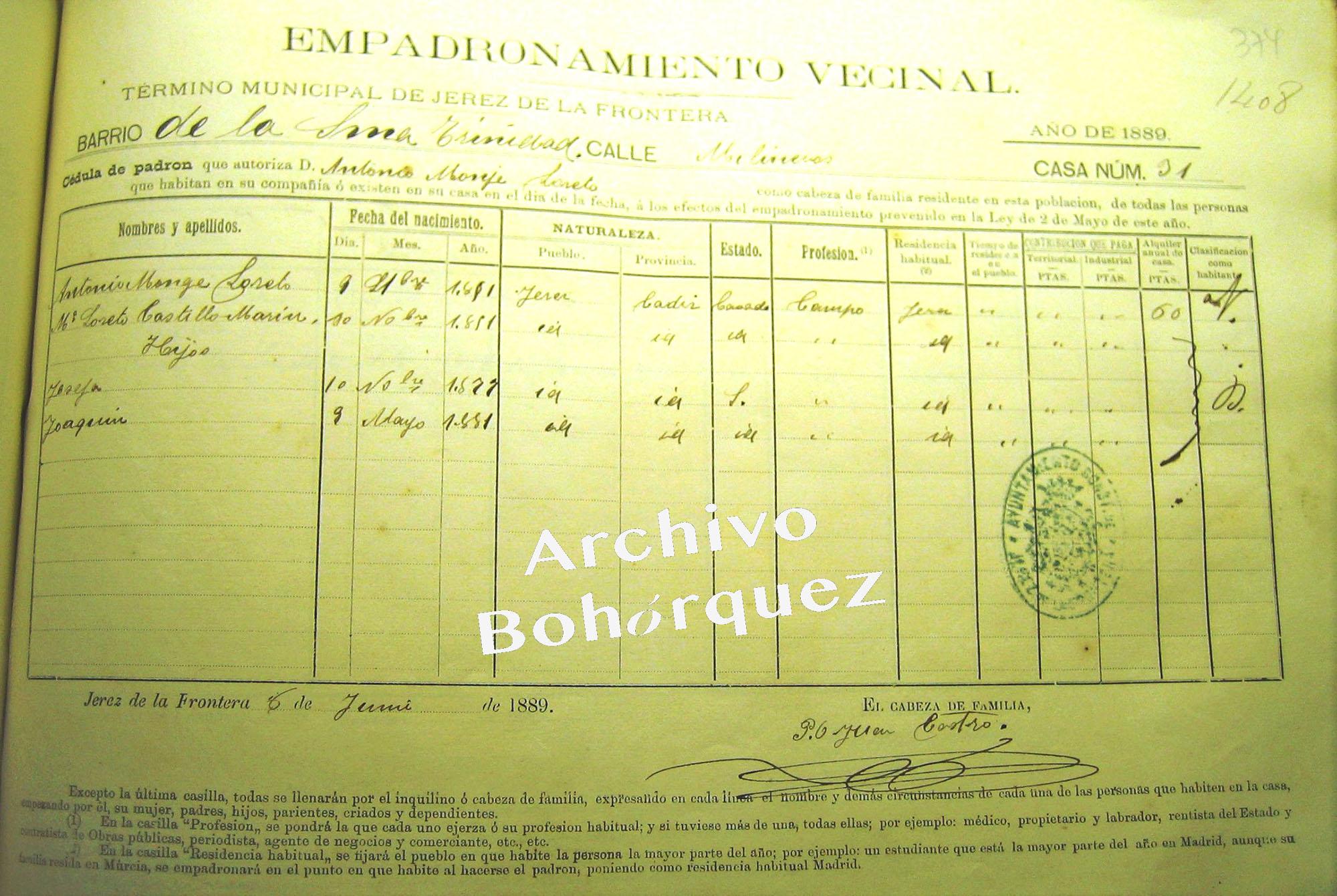 Antonio el Marrurro y su familia, empadronados en la calle Molineros 31. Ahí aparece Joaquín Monge Castillo, el Marrurro que fue asesinado en la Plaza de Toros de Algeciras en 1901. Archivo Bohórquez.