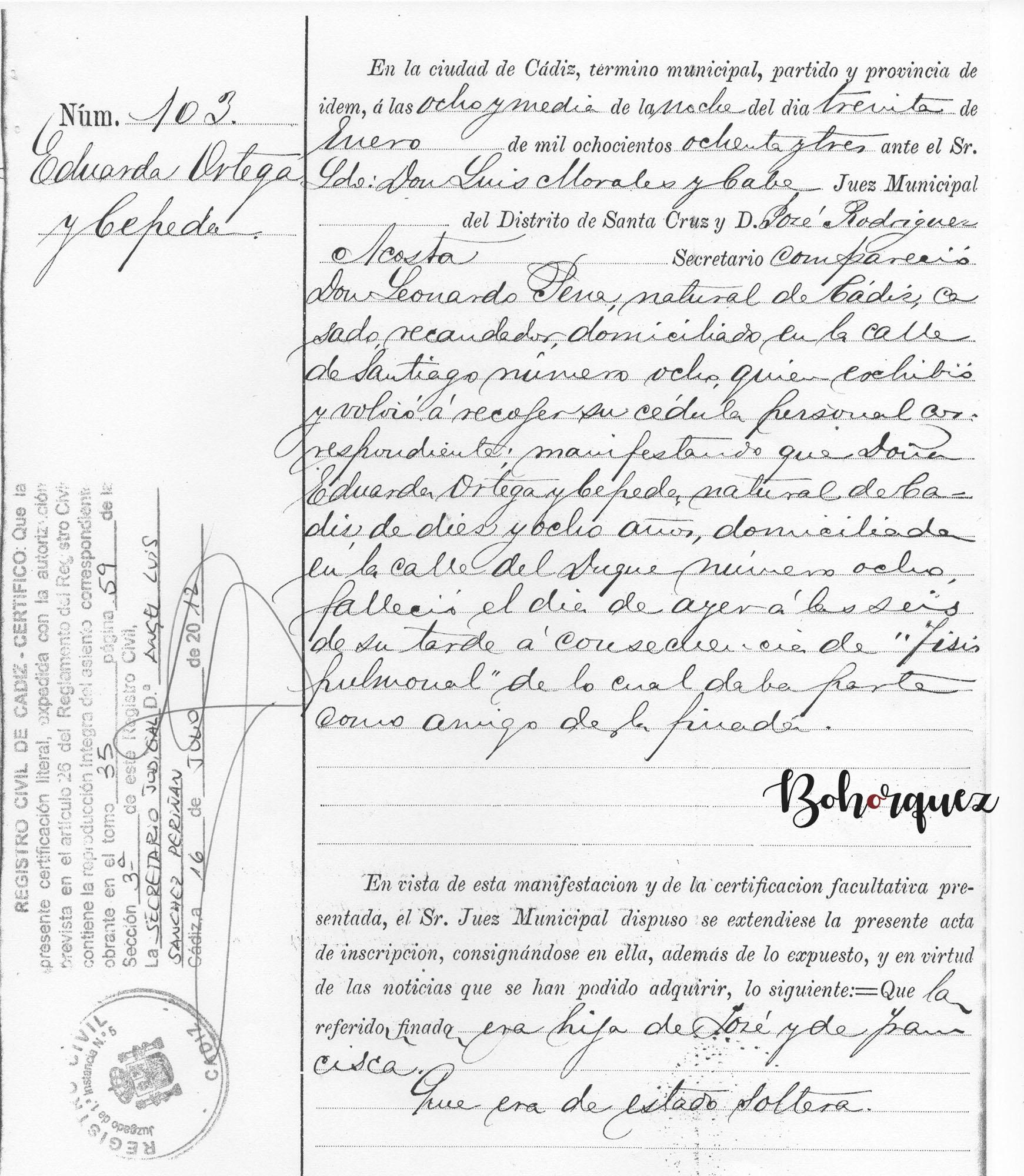 Partida de defunción de Eduarda Ortega Cepeda, hermana del Caoba. Archivo Bohórquez.