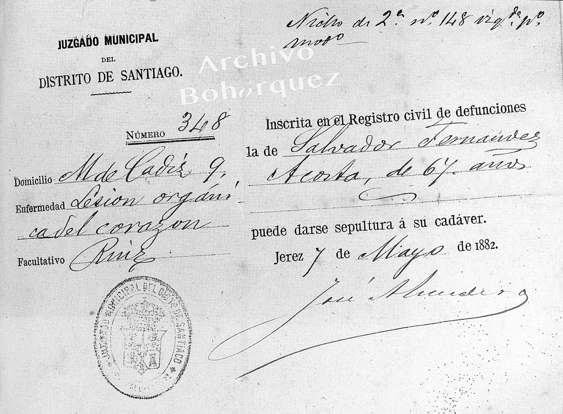 Fallecimiento de Salvador Fernández Acosta, padre de La Sarneta. Archivo Bohorquez.