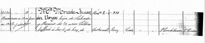 Registro de la muerte de Mercedes en el Cementerio de San Francisco el Grande de Utrera.