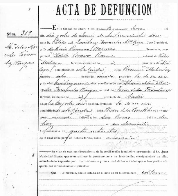 Certificado de defunción de la cantaora jerezana Mercedes La Sarneta. 18 de junio de 1912. Archivo Bohórquez.