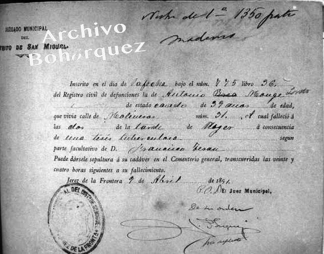Registro de la muerte de Antonio Monge Loreto El Marrurro, ocurrida en abril de 1891. Archivo Bohórquez.
