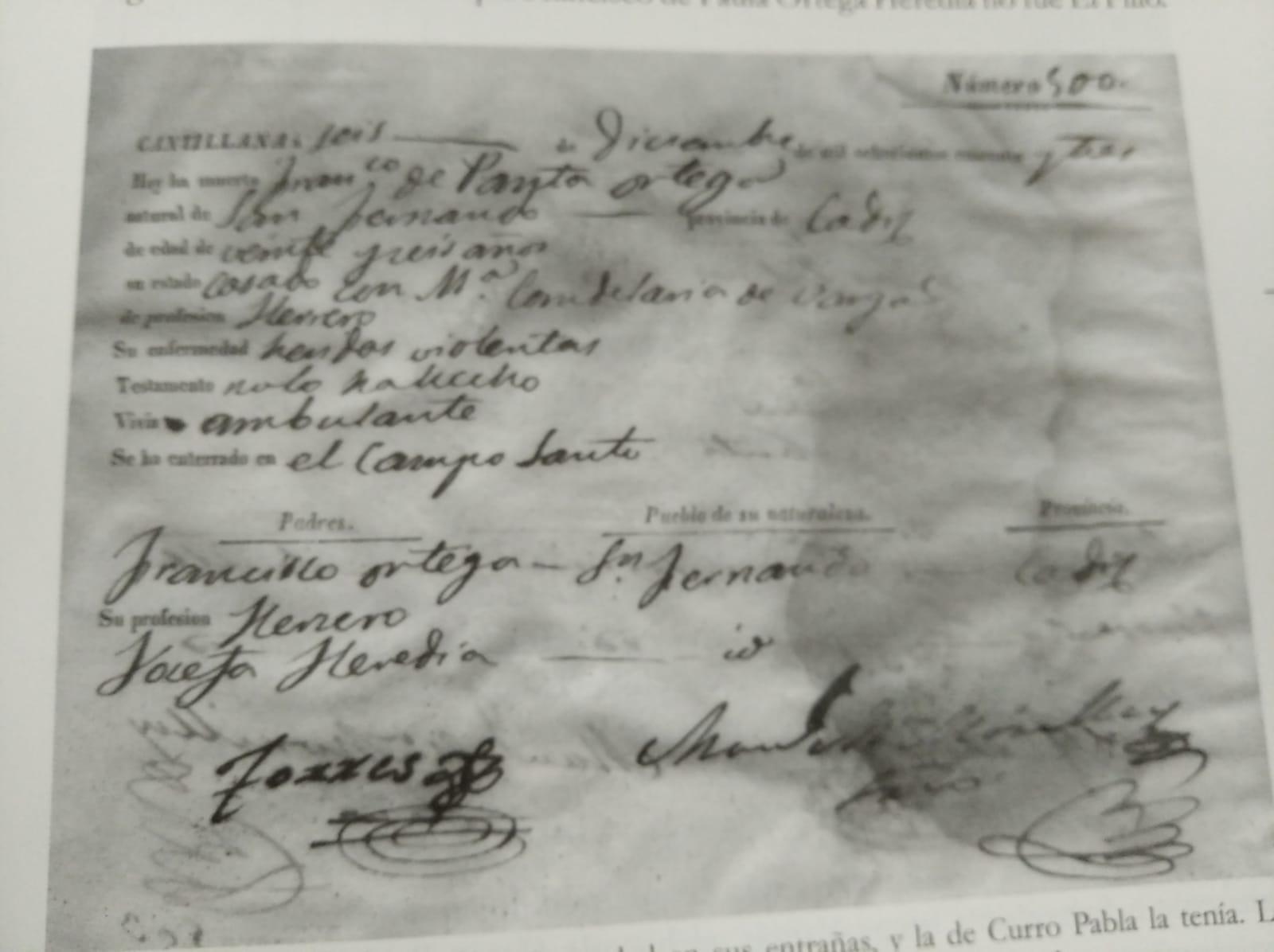 Muerte de Curro Pabla. Cantillana, 1843. Archivo Luis Javier Vázquez Morilla.