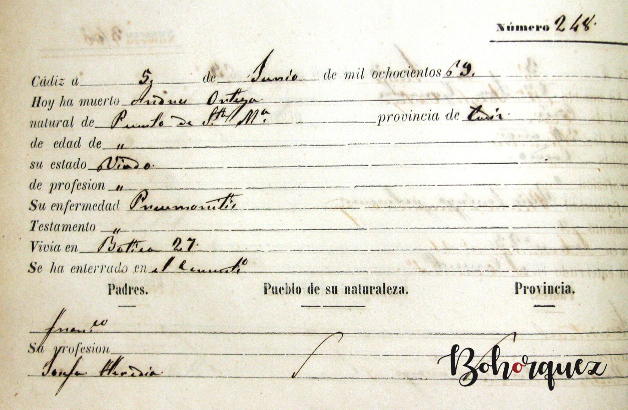 Muerte en Cádiz de Andrés Ortega Heredia, hermano de Antonio el Fillo y padre de Tomás el Nitri. Archivo Bohórquez.