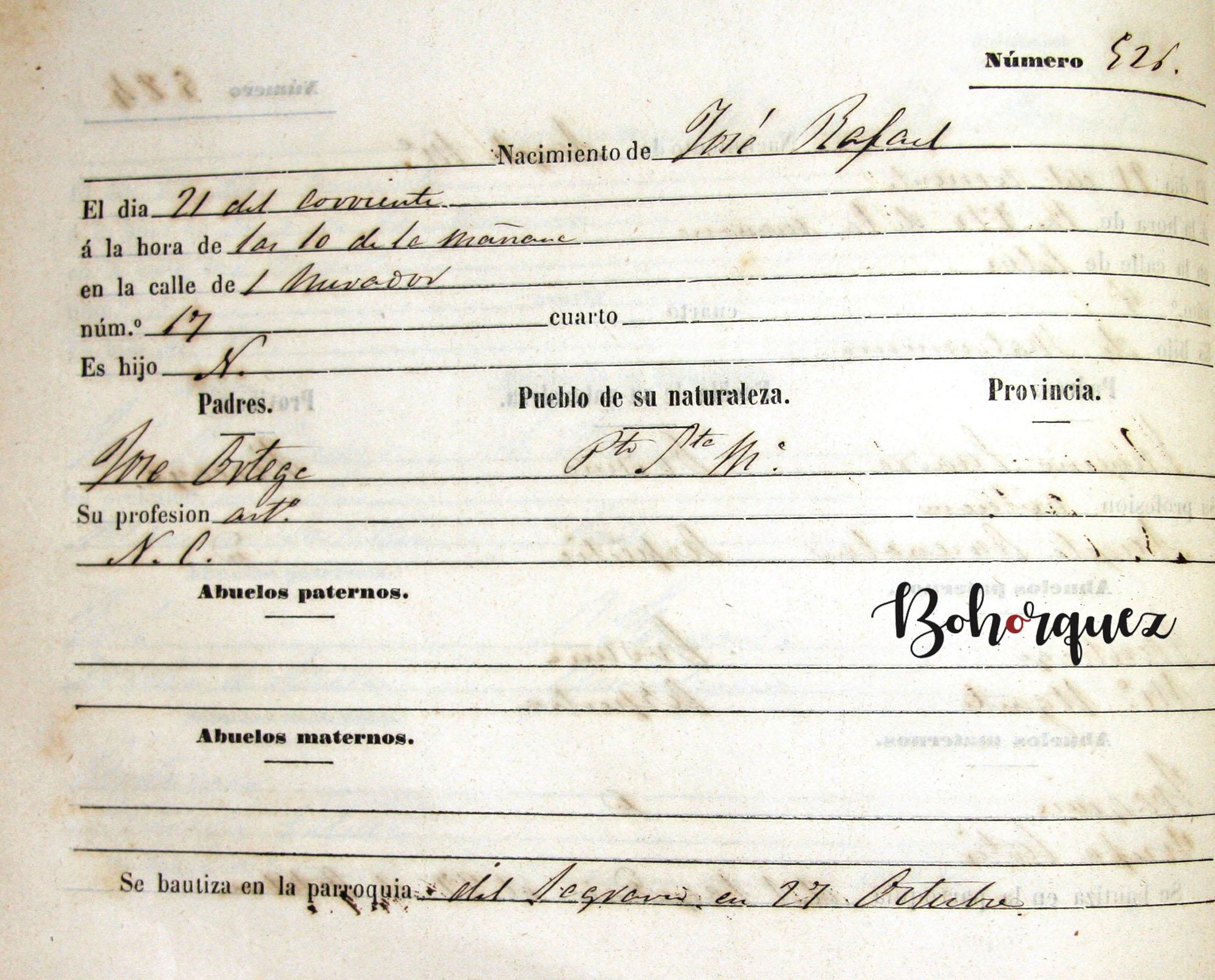 Partida de nacimiento de José Ortega Cepeda El Caoba,1861. Archivo Bohórquez.