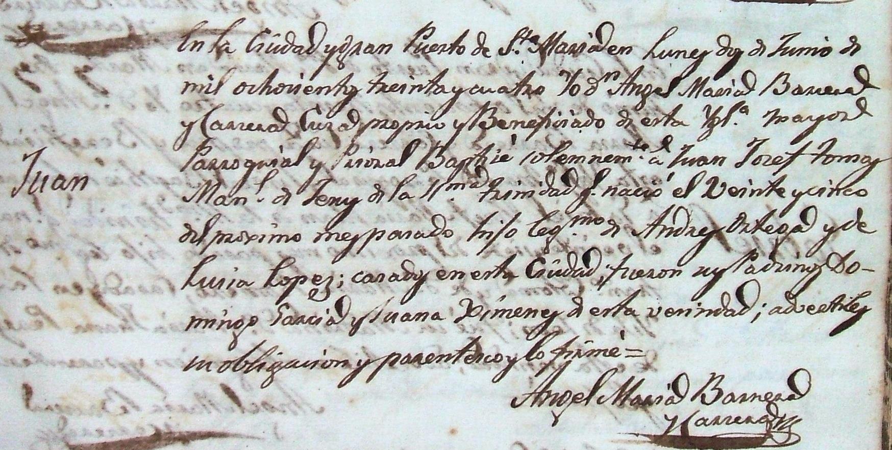 Partida de nacimiento de Juan Ortega López, hermano del Nitri y padre del Caoba. Archivo Luis Javier Vázquez Morilla