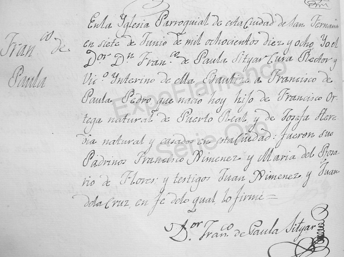 Partida bautismal de Curro Pabla. Archivo Luis Javier Vázquez Morilla.
