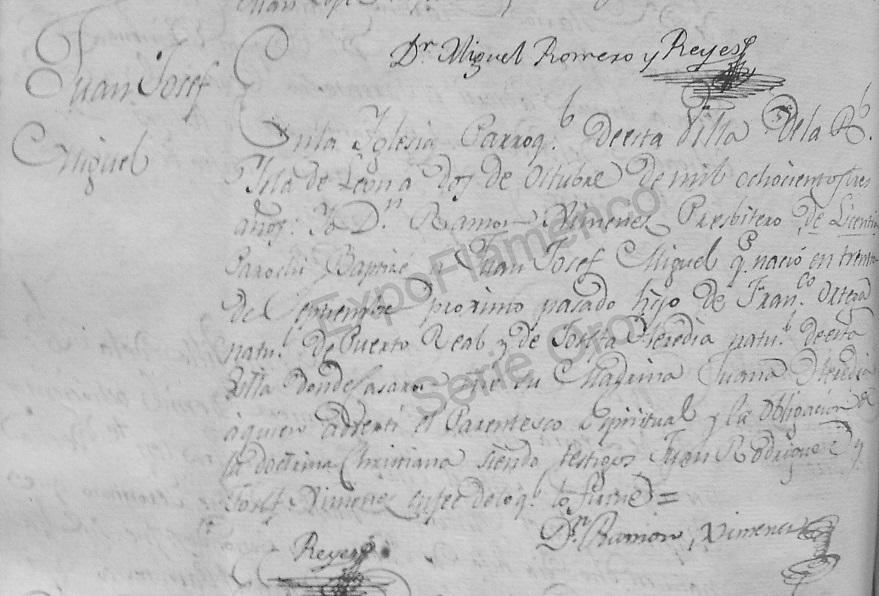 Partida bautismal de Juan Encueros. Archivo Luis Javier Vázquez Morilla.