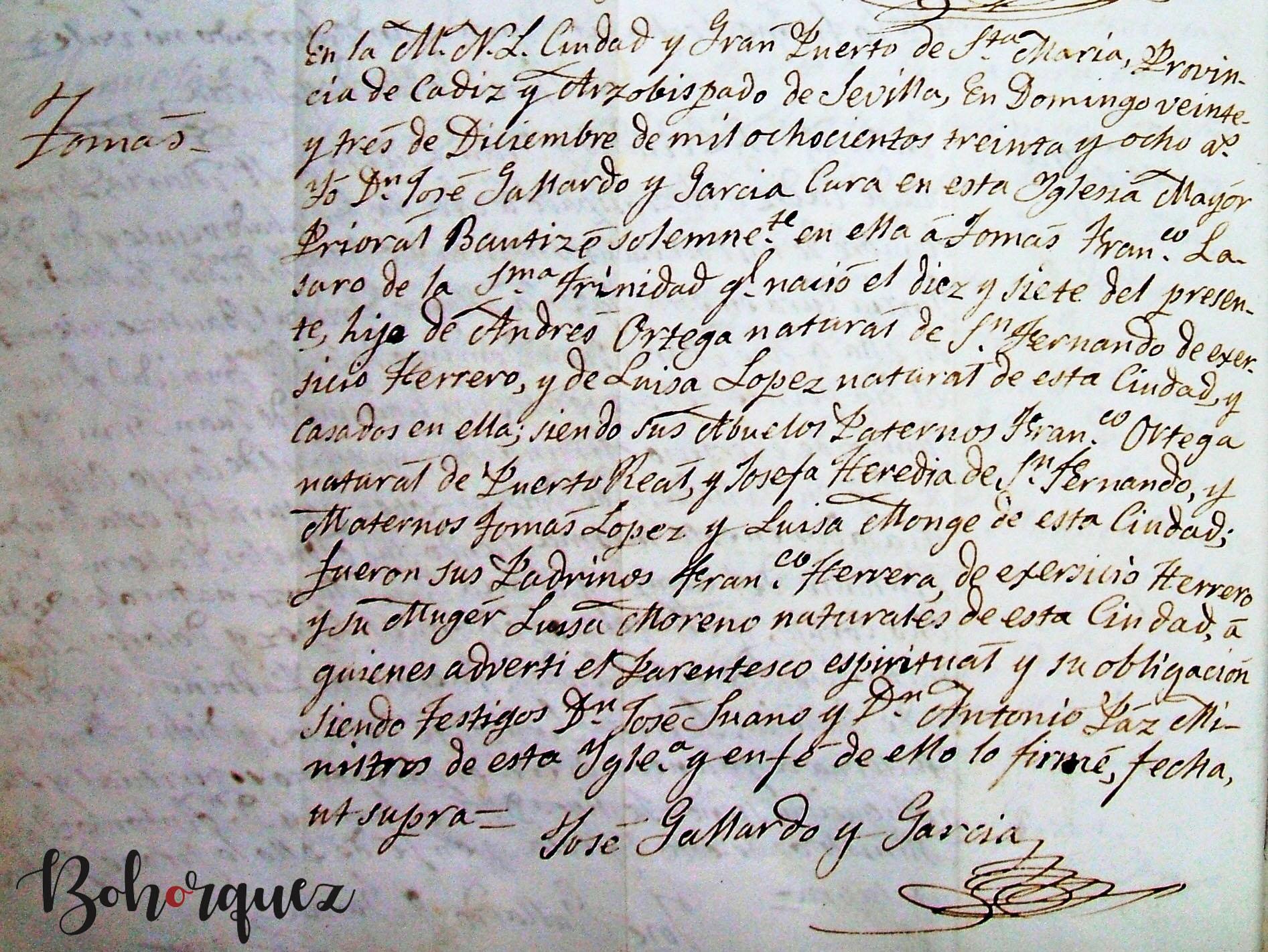 Partida de nacimiento de Tomás Ortega López El Nitri. El Puerto de Santa María, 1838. Archivo Bohórquez.