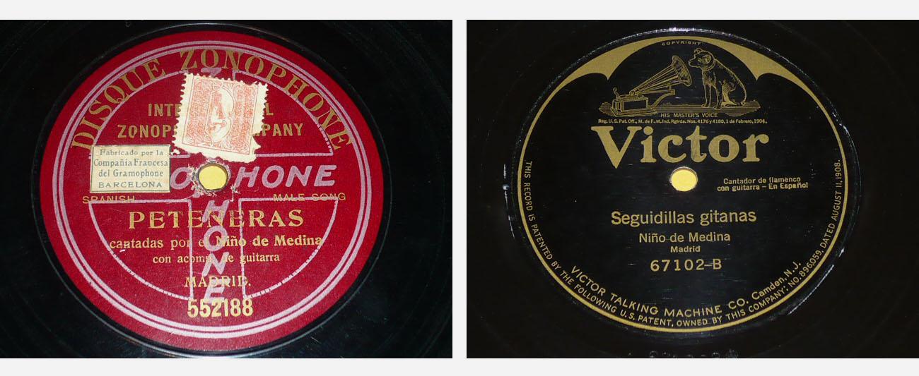 Carátulas de discos de Niño de Medina por peteneras (1910) y seguiriyas, en los que siguió la línea del padre. Archivo Bohórquez.