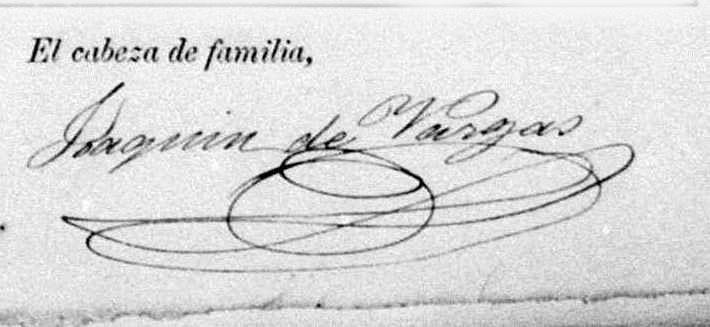 Curiosa firma de Joaquín La Cherna, aunque no hay seguridad al cien por cien de que fuera suya. Omite el apellido Loreto. 1885.