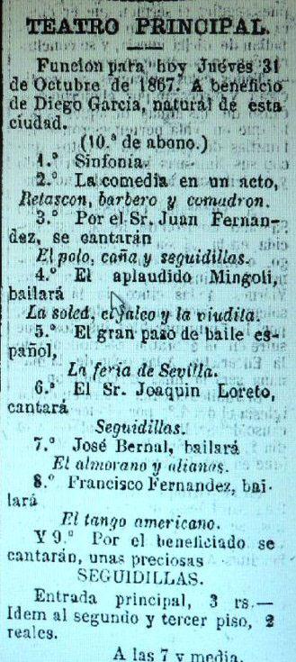 Anuncio en la prensa del cartel del festival del 31 de octubre de 1867. Archivo Bohórquez.